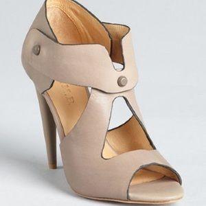 "L.A.M.B. 4.5"" Taupe Miyo Stud Sandal Heels"